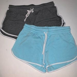 blue and gray soft shorts bundle